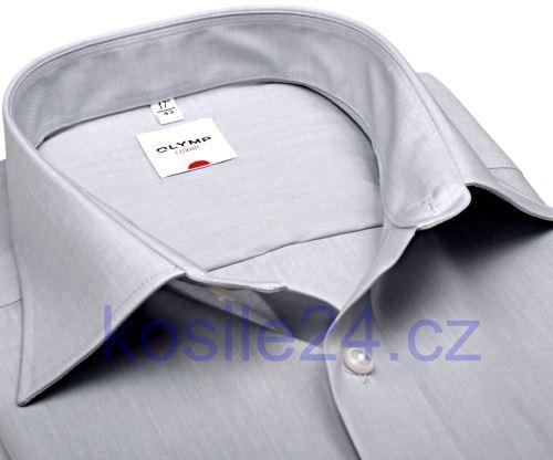 Olymp Luxor Comfort Fit Chambray - svetlosivá košeľa - krátky rukáv