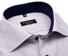 Eterna Comfort Fit – košeľa s červeno-modrou kostičkou, tmavomodrým vnútorným golierom a manžetou