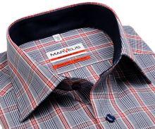 Marvelis Modern Fit - košeľa s modro-červeným károm a tmavomodrým vnútorným golierom - krátky rukáv