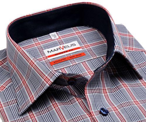 Marvelis Modern Fit – košile s modro-červeným kárem a tmavomodrým vnitřním límcem - krátký rukáv