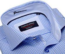 Casa Moda Modern Fit Premium – luxusná svetlomodrá košeľa s votkaným vzorom a vnútorným golierom - extra predĺžený rukáv