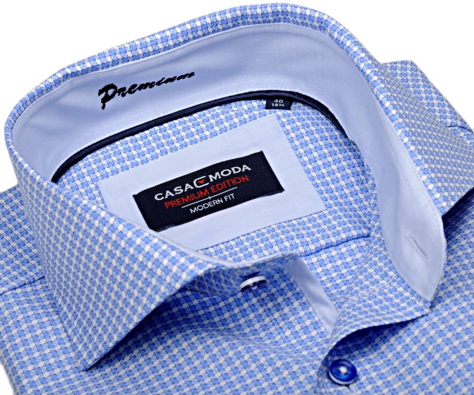 Casa Moda Modern Fit Premium – luxusná svetlomodrá košeľa s votkaným vzorom  a vnútorným golierom - abbaa4340b