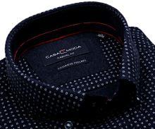 Casa Moda Casual Fit – tmavomodrá košeľa s bielymi štvorčekmi - kašmírová úprava