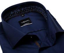 Venti Modern Fit – tmavomodrá košeľa so štruktúrou a tmavomodrým vnútorným golierom a manžetou