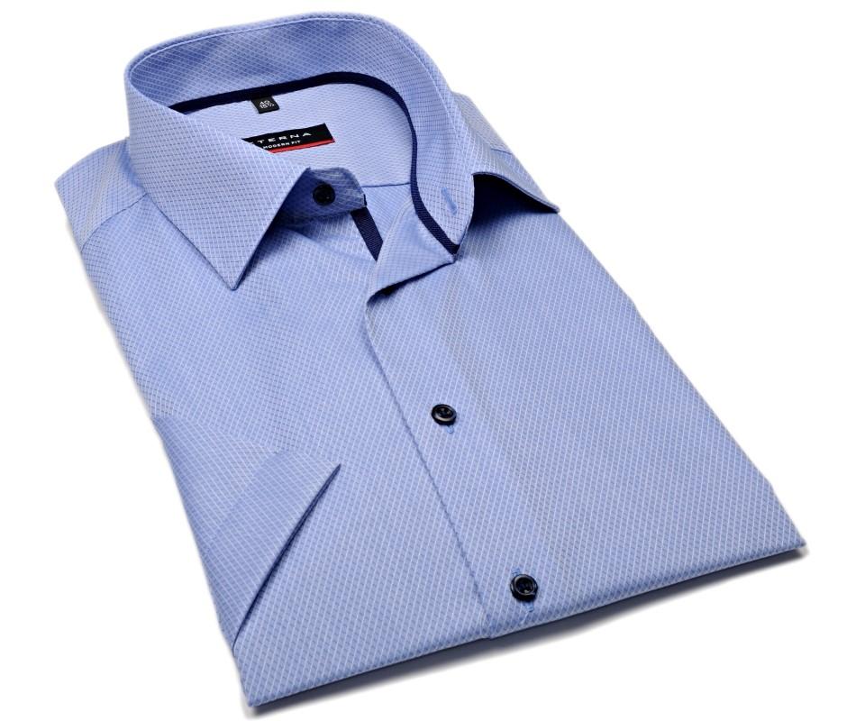 0c56a7eba59e Eterna Modern Fit - svetlomodrá košeľa s votkaným vzorom - krátky rukáv