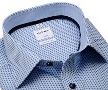 Olymp Comfort Fit – světle modrá košile s modrým vzorem - krátký rukáv