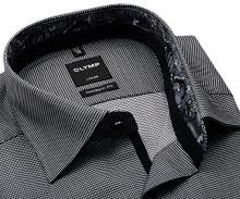Olymp Modern Fit – košile s vetkanou černou kostičkou a šedým vnitřním límcem - prodloužený rukáv