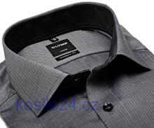 Olymp Luxor Modern Fit – oceľovo sivá košeľa s vnútorným golierom a manžetou