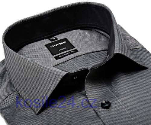 Olymp Luxor Modern Fit – ocelově šedá košile s vnitřním límcem a manžetou
