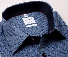 Olymp Comfort Fit – modrá košeľa s votkaným vzorom, vnútorným golierom a manžetou