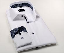 Venti Modern Fit – bílá košile se strukturou a tmavomodrým vnitřním límcem a manžetou