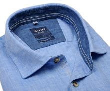Olymp Casual Modern Fit  – modrá lněná košile s tmavě modrým vnitřním límcem - krátký rukáv