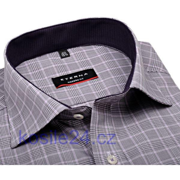 ec97f8db2538 Slim košeľa Eterna s tmavým károm - extra predĺžený rukáv