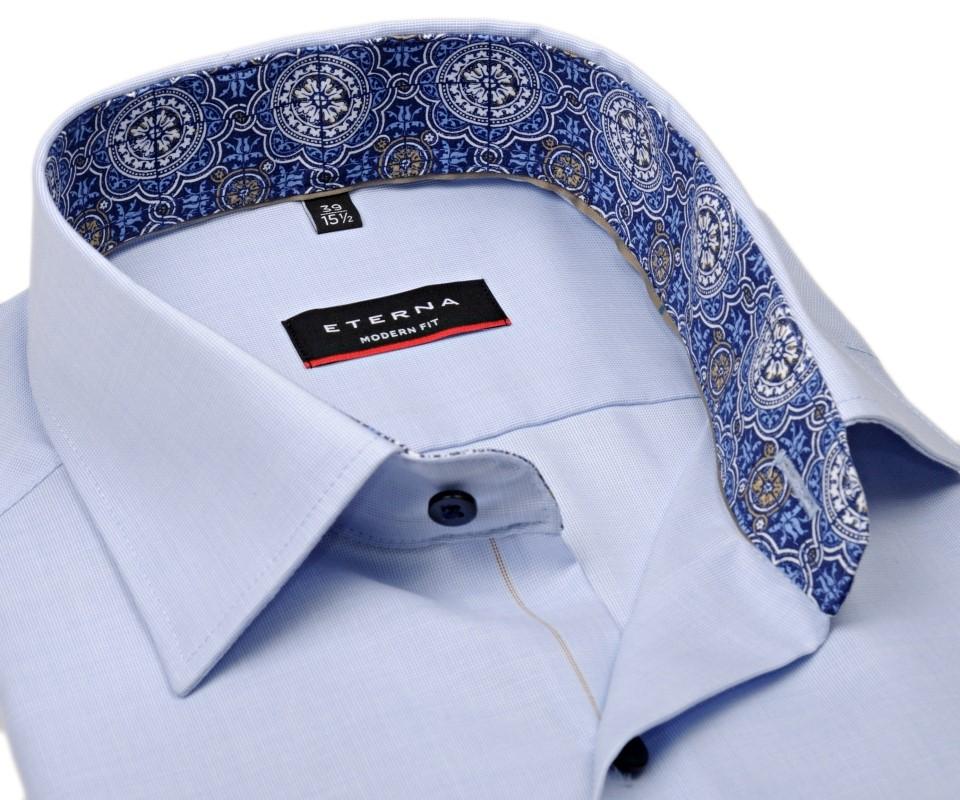 136d1d1fb36a Eterna Modern Fit – svetlomodrá košeľa s jemnou štruktúrou a vnútorným  golierom - krátky rukáv