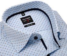 Olymp Level Five Rybia kosť – svetlomodrá košeľa s béžovo-modrým vzorom a vnútornou légou