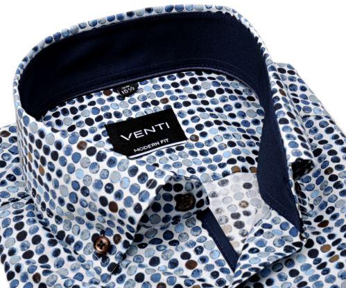 Venti Modern Fit – designová košile s tištěnými kolečky, vnitřním límcem a manžetou