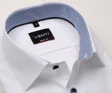 Venti Body Fit – biela košeľa s modrým vnútorným golierom a manžetou