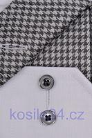 Eterna Comfort Fit Chambray – biela košeľa s čierno-bielym vnútorným golierom - predĺžený rukáv