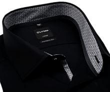 Olymp Luxor Modern Fit – čierna košeľa s čierno-bielym vnútorným golierom, manžetou a légou