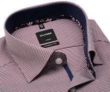 Olymp Modern Fit – červená košile s vetkaným vzorem a vnitřním límcem - prodloužený rukáv