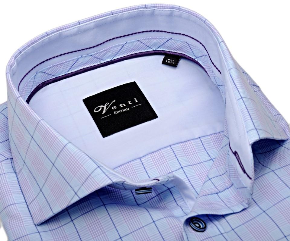 6a2a927cede4 Venti Slim Fit – svetlomodrá košeľa s dvojitm károm a vnúrotným golierom - extra  predĺžený rukáv