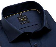 Olymp Super Slim – tmavomodrá košeľa s votkaným vzorom
