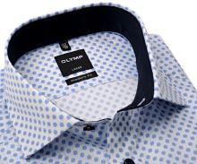 Olymp Modern Fit – bílá košile s modrými kroužky a vnitřním límcem - prodloužený rukáv