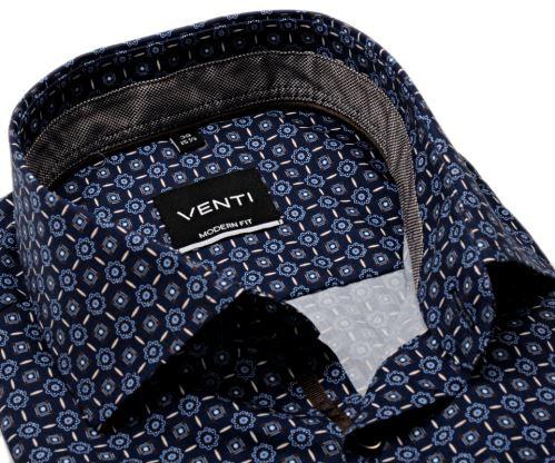 Venti Modern Fit – tmavomodrá košile s modro-hnědým vzorem, vnitřním límcem a manžetou
