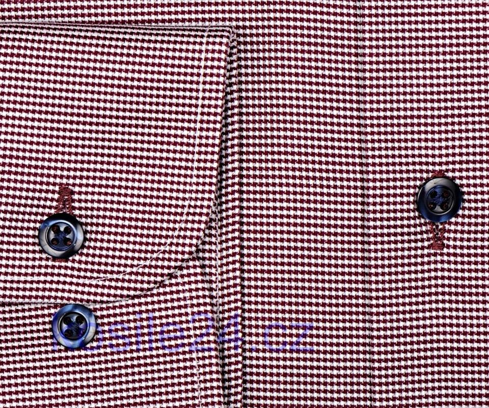 Eterna Slim Fit - vínově červeno-bílá košile s vetkaným vzorem - extra  prodloužený rukáv a2e0d54c12