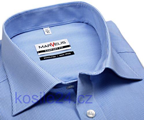 Marvelis Comfort Fit – košile se světle modrým mini kárem
