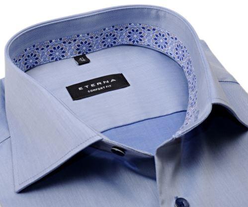 Eterna Comfort Fit Lotus Shirt - luxusní kovově modrá košile s vnitřním límcem a manžetou