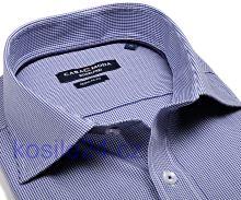 Casa Moda Comfort Fit – tmavě modré minikáro - extra prodloužený rukáv