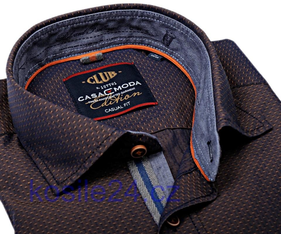 ac7b6b3ee0a Casa Moda Casual Fit – hnědá košile s béžovým vzorem a vnitřním límcem -  extra prodloužený