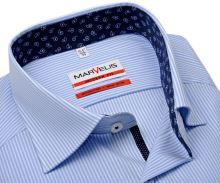 Marvelis Modern Fit – košeľa so svetlomodrým prúžkom a modrým vnútorným golierom a manžetou