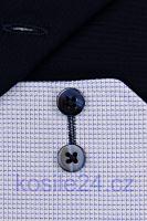 Eterna Comfort Fit – košeľa s modrým votkaným vzorom a vnútorným golierom - predĺžený rukáv