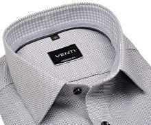 Venti Modern Fit – košeľa s čierno-sivým votkaným vzorom a vnútorným golierom - extra predĺžený rukáv