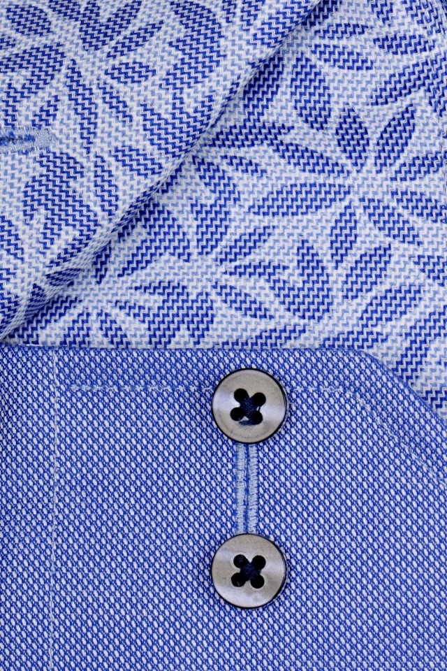432faba0efcd Eterna Modern Fit - modrá košeľa s jemnou štruktúrou a kvetinovým vnútorným  golierom a manžetou