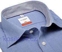 Olymp Luxor Modern Fit – košeľa s modrým minikárom s vnútorným golierom - krátky rukáv